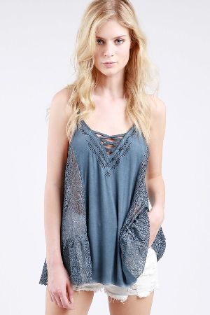Contrasting lace panel cami tank top