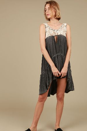 a1e4c73ab39 Crochet detailed high low tunic with ruffle bottom - Pol Clothing ...
