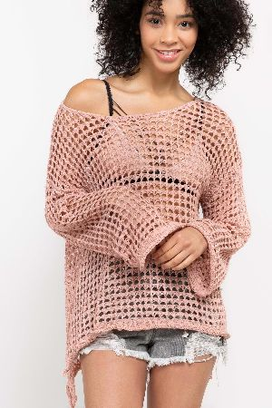Crochet mesh knit off shouler or worn boat neck style top