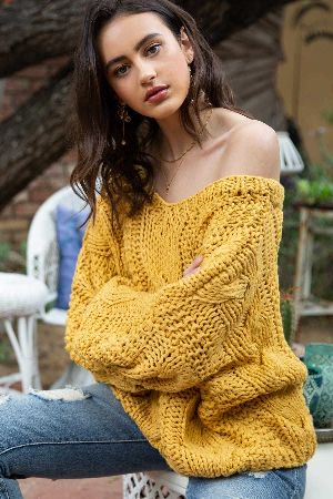Hand-made slouchy cable knit sweater