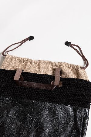Leather and Knit 2 tone tote bag