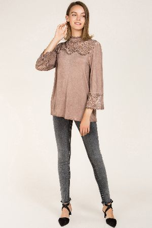 72990eae64821 Mock neck blouse with front ruffle accent- Pol