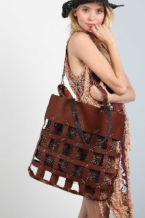 Plaid shape leather strap detailed inset with knit crochet tote bag