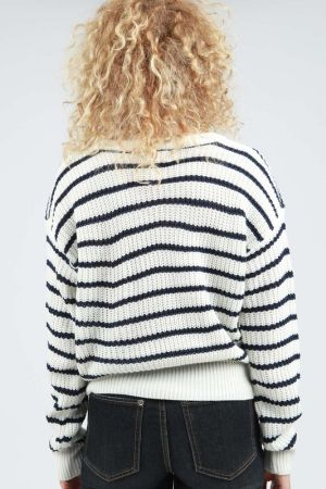 Stripped lace up front sweater  db032c78e