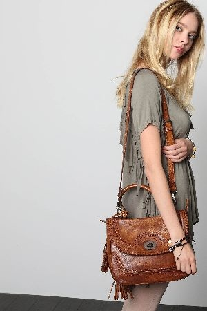 Textured strap detailed satchel
