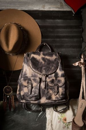 Tie dye leather backpack w zipper chain detail
