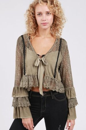 Tiered lace bell sleeve bolero top