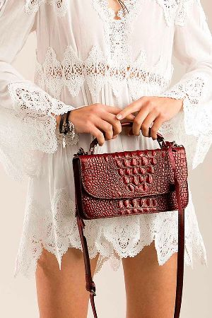 Two way double side detailed crocodie leather crossbody