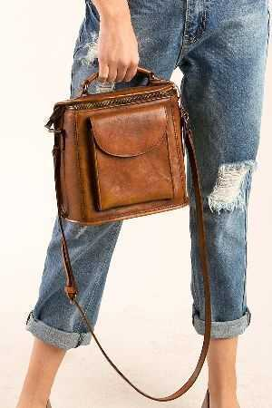 Blocked shaped leather crossbody with front pocket