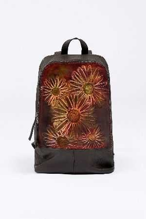 Embossed floral details square leather backpack
