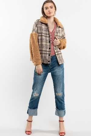 A great back to school wool plaid jacket featuring Sherpa contrast