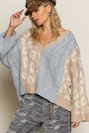 Animal contrast print sweater