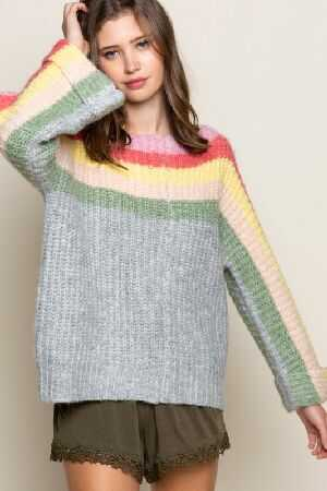 Boat neck colorful rainbow sweater