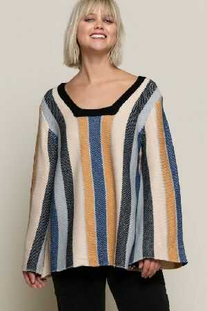Boho inspired stripe sweater top