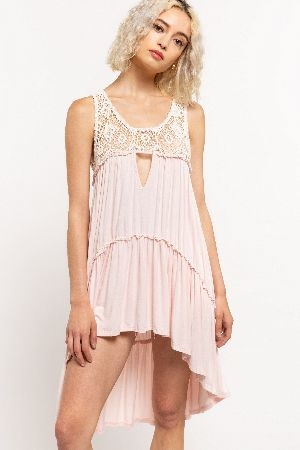 Crochet detailed high low tunic with ruffle bottom