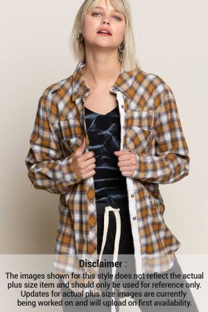 Destroyed woven plaid button down Tunic Top