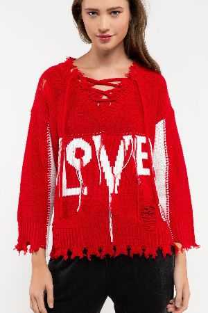 Distressed LOVE sweater