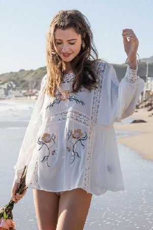 Floral Embroidery Design Relaxed Fit Pleated Detail Top
