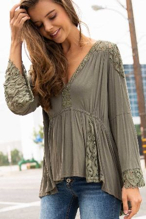 Lace paneled peasant top