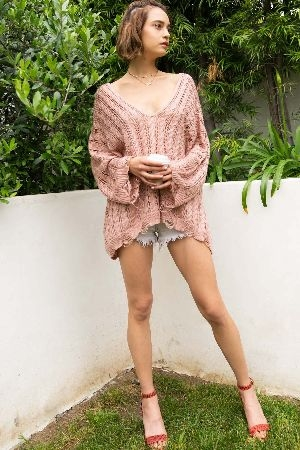Lightweight oversized boxy sweater top