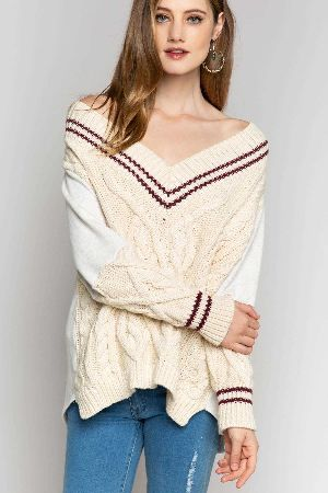 Long sleeve sweater with french terry fabrication on sleeve