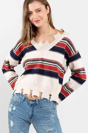 Multi stripe detail sweater