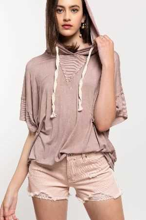 Not so basic knit hoodie short sleeve top