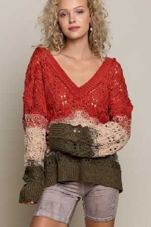 Open weave knitted sweater