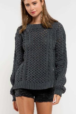 Open weave sweater chenille sweater