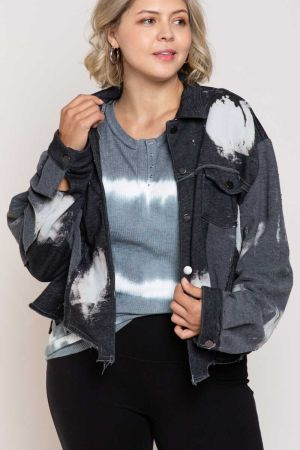 Plus Size  Dip Dye Button Down Sweater