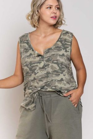 Plus Size Camo On Camo Tank Top