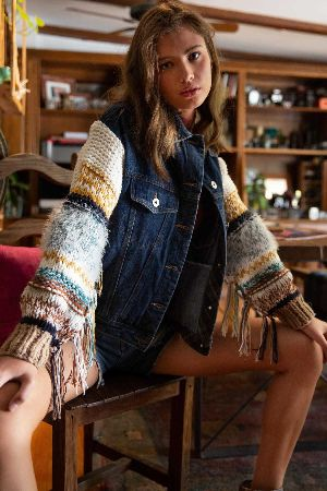 Sweater denim jacket with frilled knit sleeves