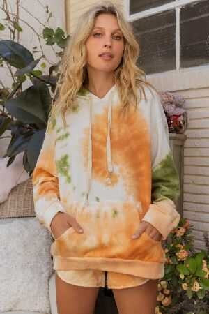 Tie Dye French Terry Hoodie Top