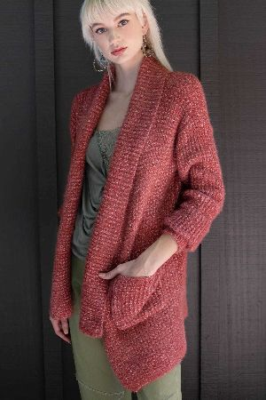 Wide long ribbed placket mohair waffle knit cardigan