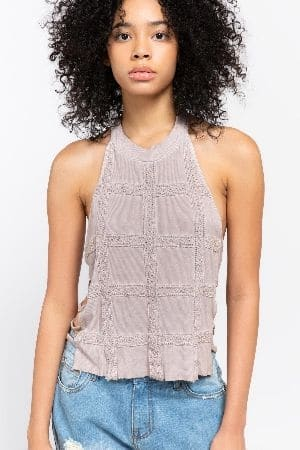 All over lace detailed ribbed knit top with strap details