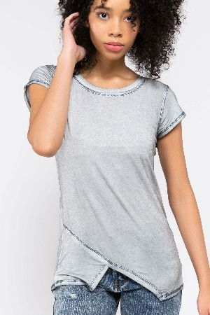 Asymmetrical cut out short sleeve top