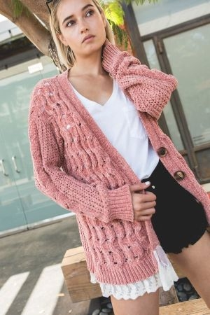 Cable knit cardigan with button down closure