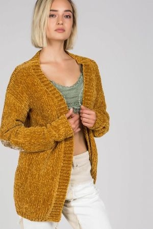 Chenille open popcorn sweater with velvet elbow patch