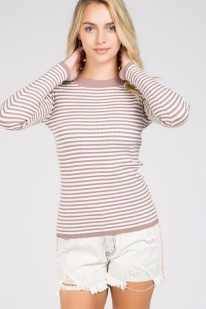 Classic Stripped Ribbed Sweater