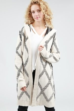 Contrast patterned long hooded cardigan