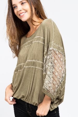Crew neck dolman lace sleeve shirred detail top