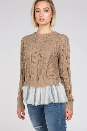 Crochet cable sweater with lace seam