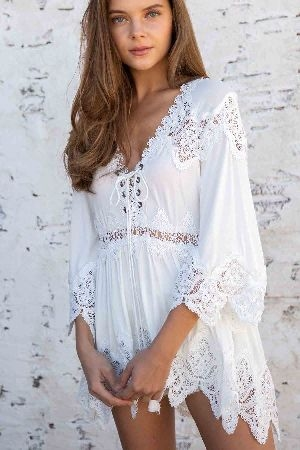 Crochet detailed high low tunic top