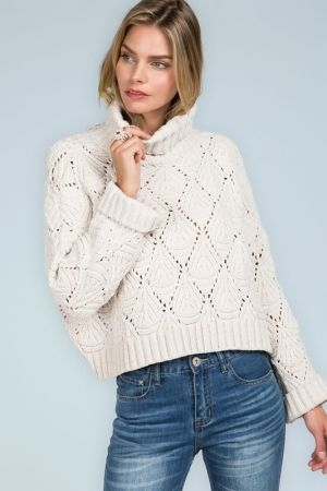 Cropped eyelet cutout turtleneck pullover sweater