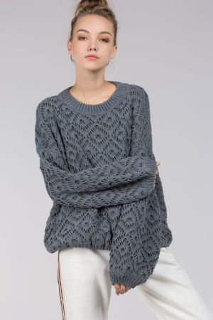 Diamond lace knit sweater with ballon sleeves