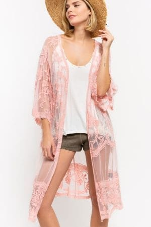 embroidered kimono duster featuring wide bell sleeve