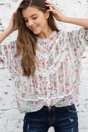 Feminine ruffle boxy woven floral print top with lace detail