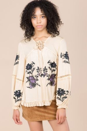 Floral Embroidered Top With Front Tie