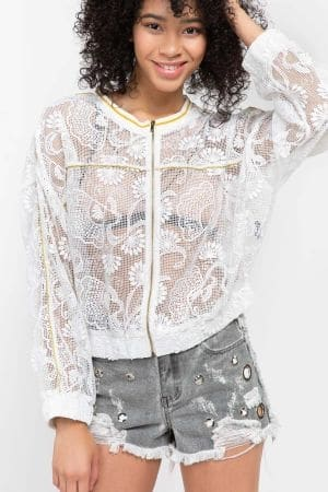 Floral lace woven bomber jacket with gold tape