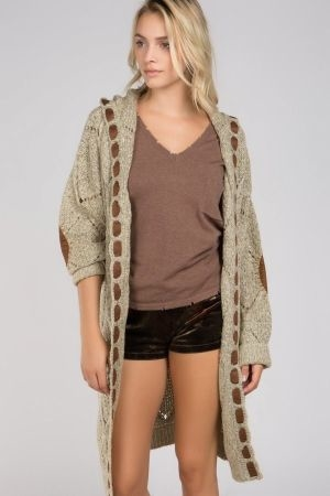 Hooded cable knit open front sweater cardigan with suede tape elbow